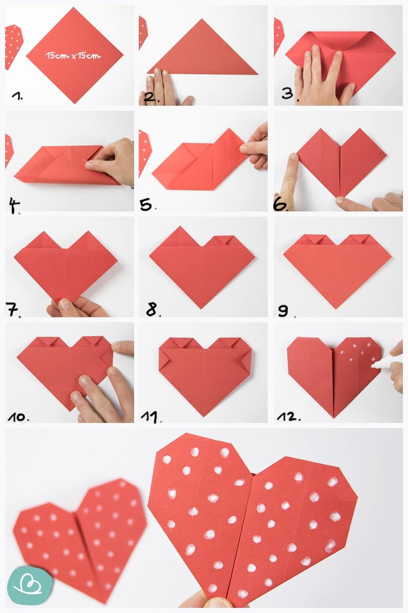 Origami Herz falten Anleitung.
