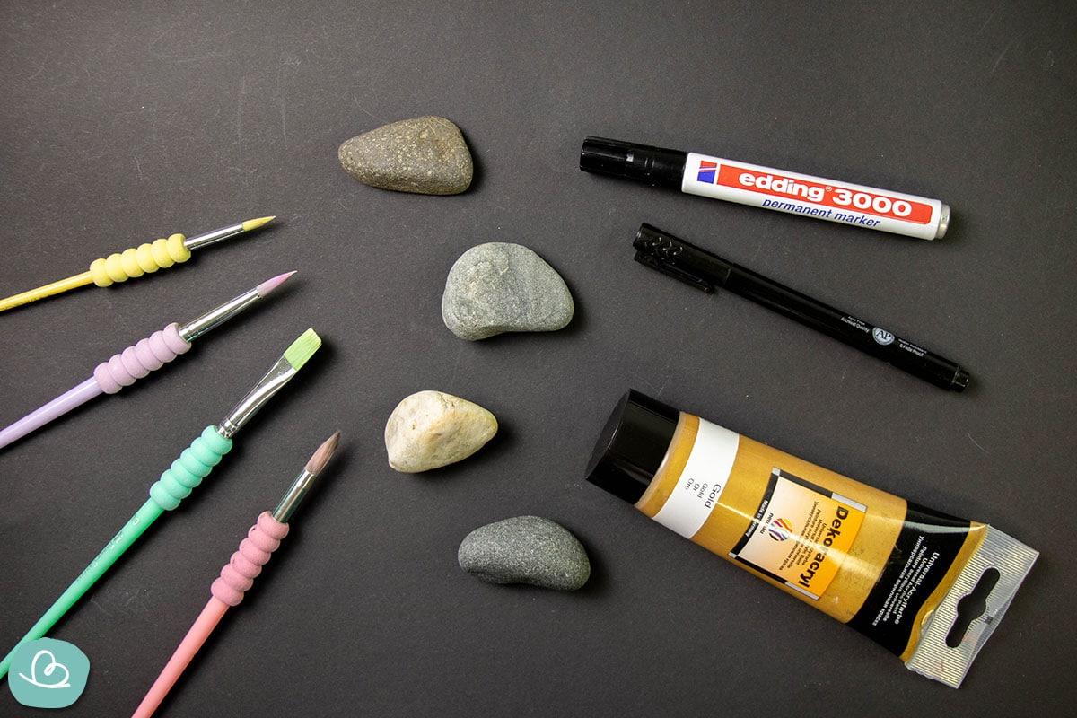Material Steine mit Kugel bemalen