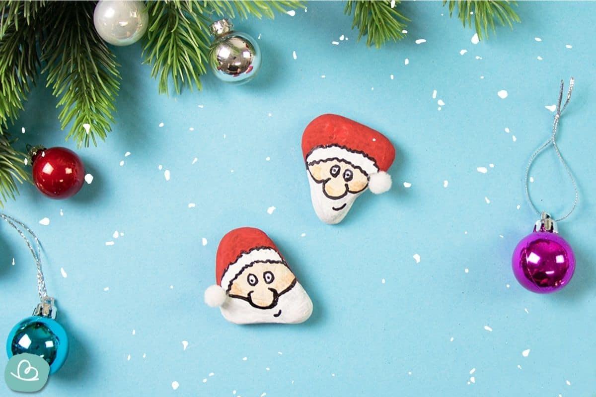 Steine bemalen Weihnachtsmann