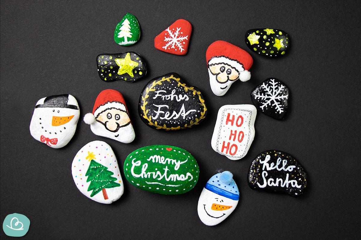 bemalte Steine für Weihnachten