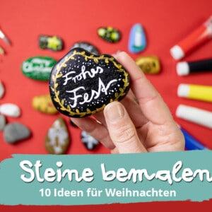 Steine bemalen an Weihnachten. 10 Ideen